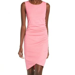 NEW Leith Dress Pink Midi Ruched side Small